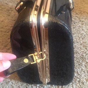Bags - Black and Gold Glitter Jelly Bag
